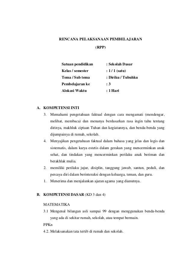 Rpp Kurikulum 2013 Kelas 1 Tema 1 Sub Tema 2 Pembelajaran 3