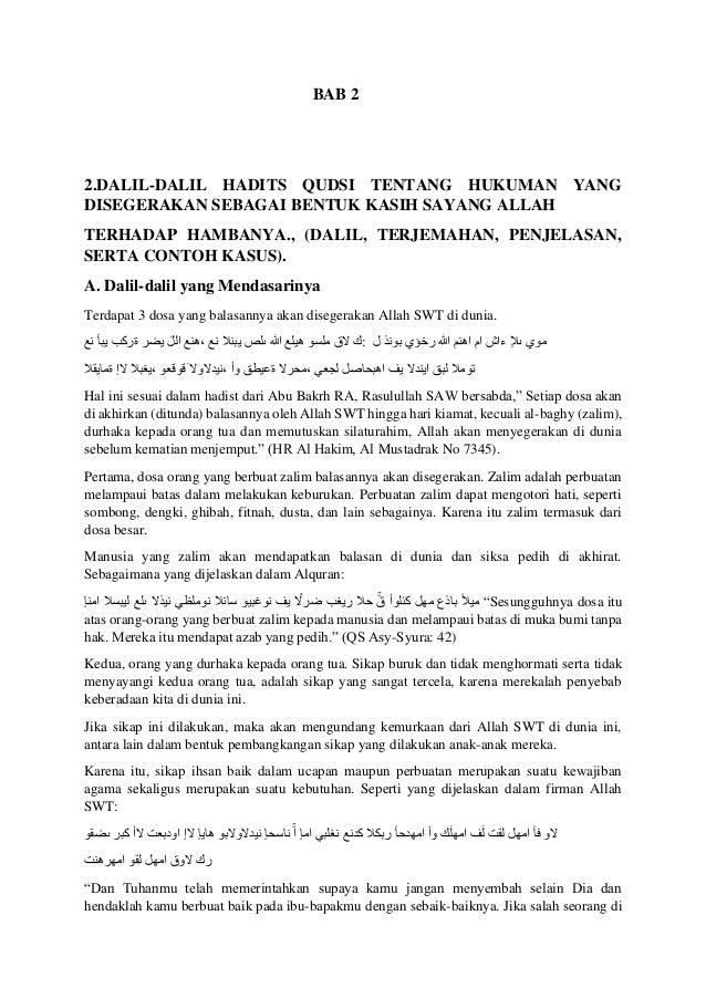 BAB 2 2.DALIL-DALIL HADITS QUDSI TENTANG HUKUMAN YANG DISEGERAKAN SEBAGAI BENTUK KASIH SAYANG ALLAH TERHADAP HAMBANYA., (D...