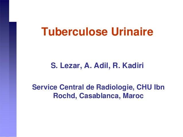 Tuberculose Urinaire S. Lezar, A. Adil, R. Kadiri Service Central de Radiologie, CHU Ibn Rochd, Casablanca, Maroc