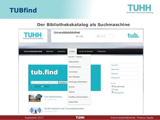 September 2017 Universitätsbibliothek, Thomas Hapke TUBfind Der Bibliothekskatalog als Suchmaschine