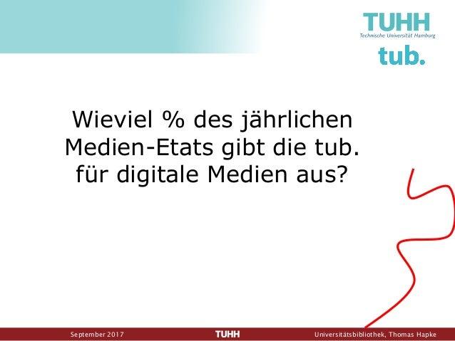 September 2017 Universitätsbibliothek, Thomas Hapke Wieviel % des jährlichen Medien-Etats gibt die tub. für digitale Medie...