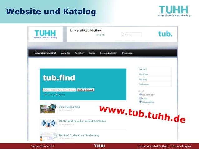 September 2017 Universitätsbibliothek, Thomas Hapke Website und Katalog