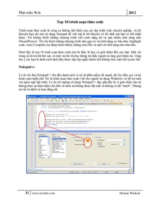 Phát triển Web 201211 www.izwebz.com Demon WarlockTop 10 trình soạn thảo codeTrình soạn thảo code là công cụ không thể thi...