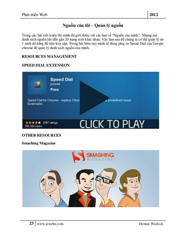 Phát triển Web 201223 www.izwebz.com Demon WarlockNguồn của tôi – Quản lý nguồnTrong các bài viết trước thì mình đã giới t...