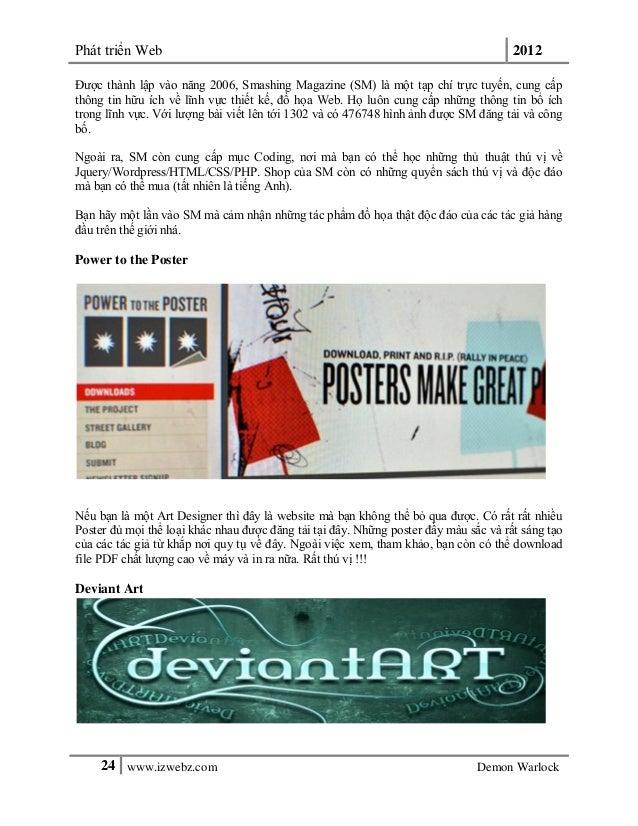 Phát triển Web 201224 www.izwebz.com Demon WarlockĐược thành lập vào năng 2006, Smashing Magazine (SM) là một tạp chí trực...