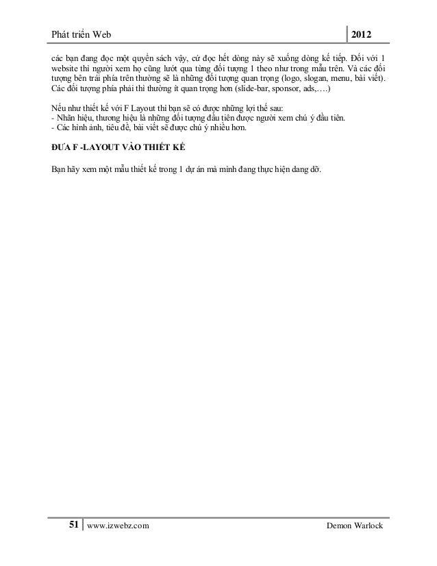 Phát triển Web 201251 www.izwebz.com Demon Warlockcác bạn đang đọc một quyển sách vậy, cứ đọc hết dòng này sẽ xuống dòng k...