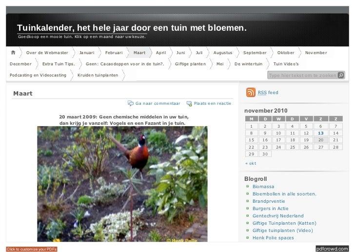 Tuinkalender, het hele jaar door een tuin met bloemen.      Goe dk oope e nm ooie tuin.Klik ope e nm aandnaaruwk...
