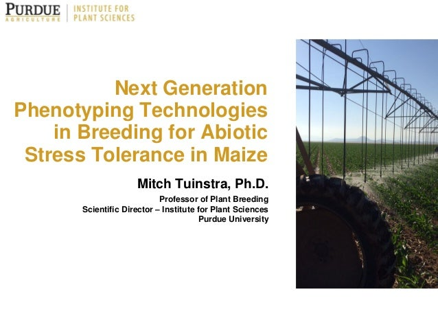 Next Generation Phenotyping Technologies in Breeding for Abiotic Stress Tolerance in Maize Mitch Tuinstra, Ph.D. Professor...