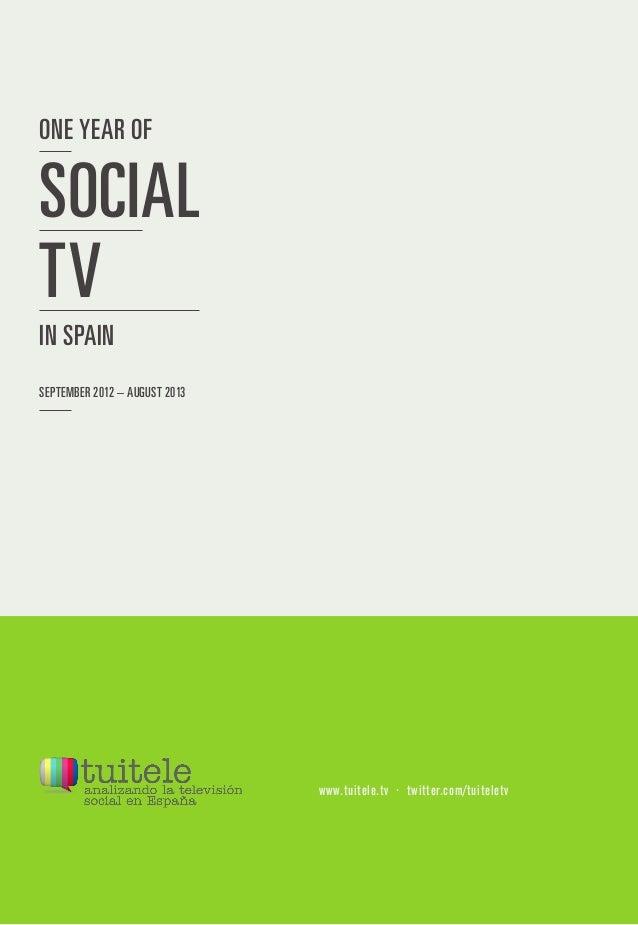 ONE YEAR OF SEPTEMBER 2012 – AUGUST 2013 IN SPAIN SOCIAL TV www.tuitele.tv · twitter.com/tuiteletv