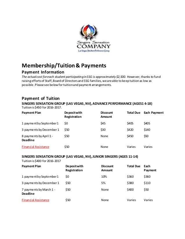 Membership/Tuition& Payments Payment Information The actualcost foreach studentparticipating in SSG is approximately $2,50...