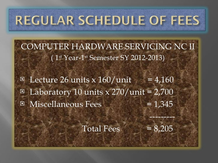 COMPUTER HARDWARE SERVICING NC II         ( 1st Year-1st Semester SY 2012-2013)   Lecture 26 units x 160/unit    = 4,160...