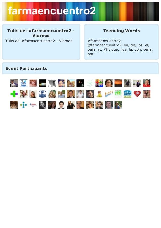 farmaencuentro2 Tuits del #farmaencuentro2 -                   Trending Words            ViernesTuits del #farmaencuentro2...
