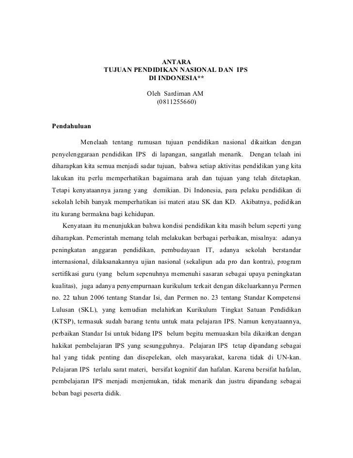 ANTARA                  TUJUAN PENDIDIKAN NASIONAL DAN IPS                            DI INDONESIA**                      ...