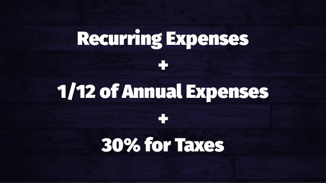 Recurring Expenses + 1/12 of Annual Expenses + 30% for Taxes