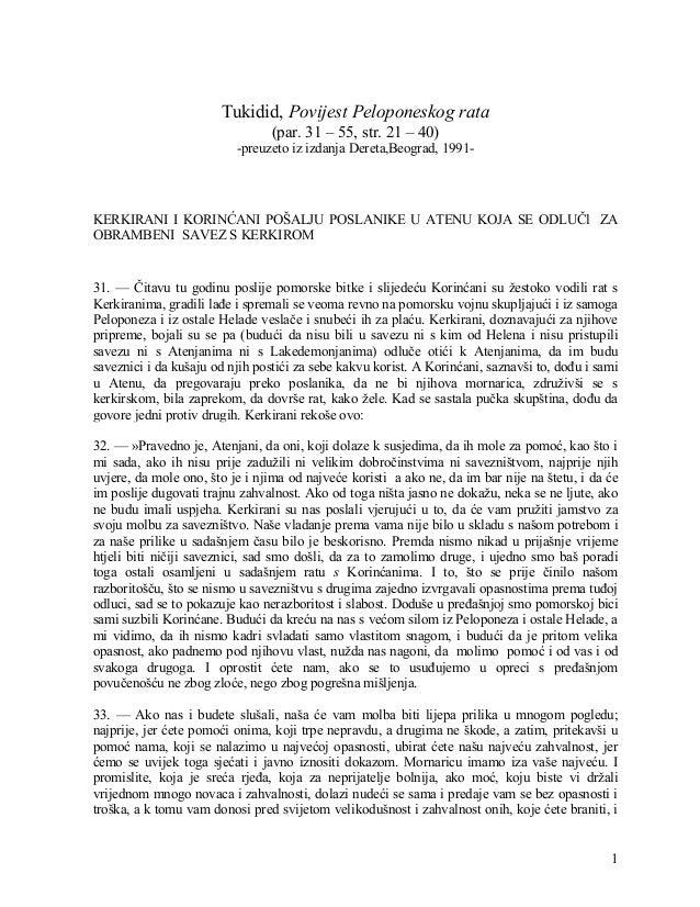 1 Tukidid, Povijest Peloponeskog rata (par. 31 – 55, str. 21 – 40) -preuzeto iz izdanja Dereta,Beograd, 1991- KERKIRANI I ...
