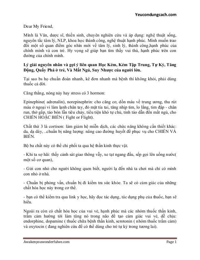 Yeucondungcach.com Awakenyouwonderfulwe.com Page 1 Dear My Friend, Mình là Văn, dƣợc sĩ, thiền sinh, chuyên nghiên cứu và ...