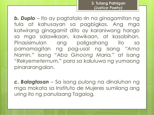 balagtasan examples Fliptop battle: the modern balagtasan 4068 words   17 pages examples of language changed and shifts fueled by invasions, colonization, and migration.