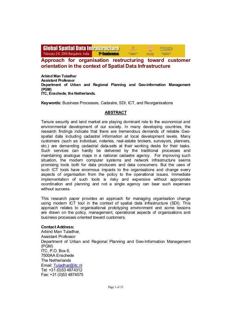 Approach for organisation restructuring toward customerorientation in the context of Spatial Data InfrastructureArbind Man...