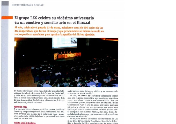 Celebración del 20 aniversario de LKS - Mayo 2011-Tu lankide