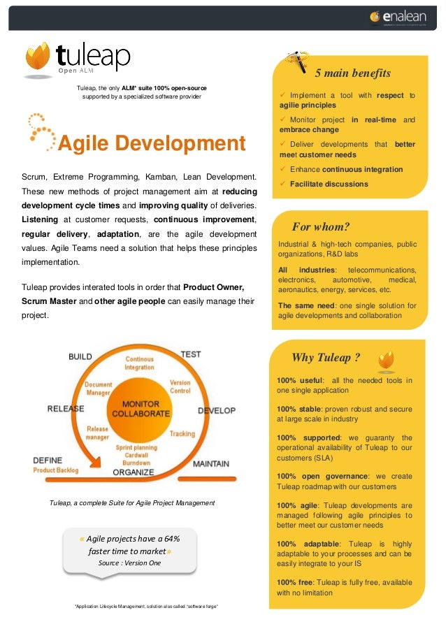 Tuleap, the only ALM* suite 100% open-source supported by a specialized software provider Agile Development Scrum, Extreme...