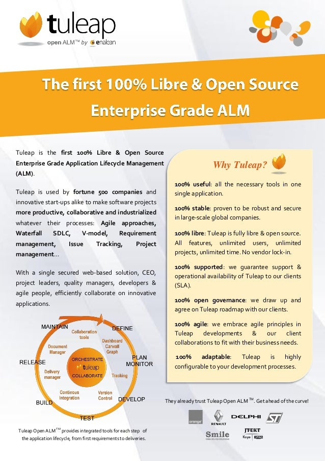 Tuleap is the first 100% Libre & Open Source Enterprise Grade Application Lifecycle Management (ALM). Tuleap is used by fo...