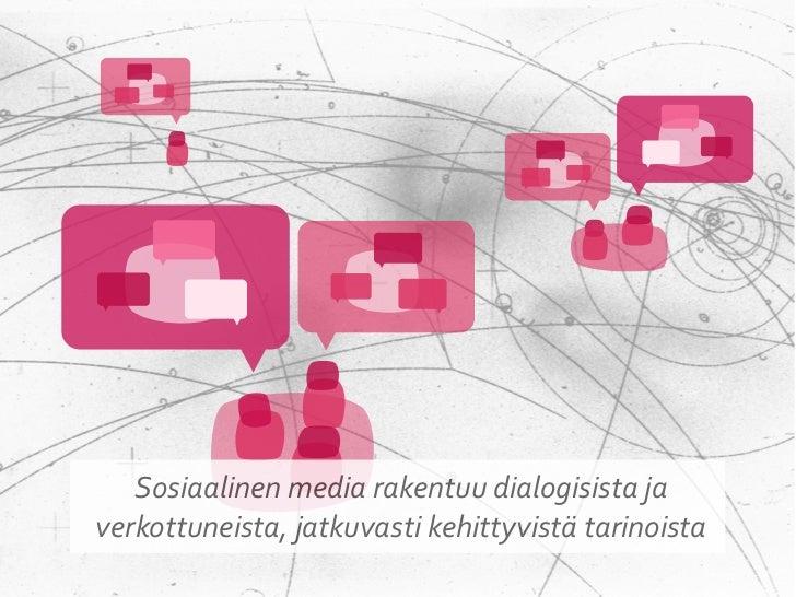 Tarina + Verkosto = Tarinaverkosto  Sosiaalisessa mediassa tarinat   luodaan ja kerrotaan yhdessä