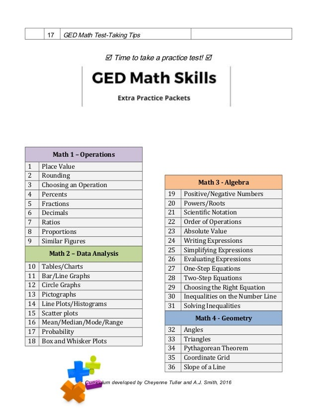 picture regarding Ged Math Practice Test Free Printable identify GED Math Presentation Handout 2017