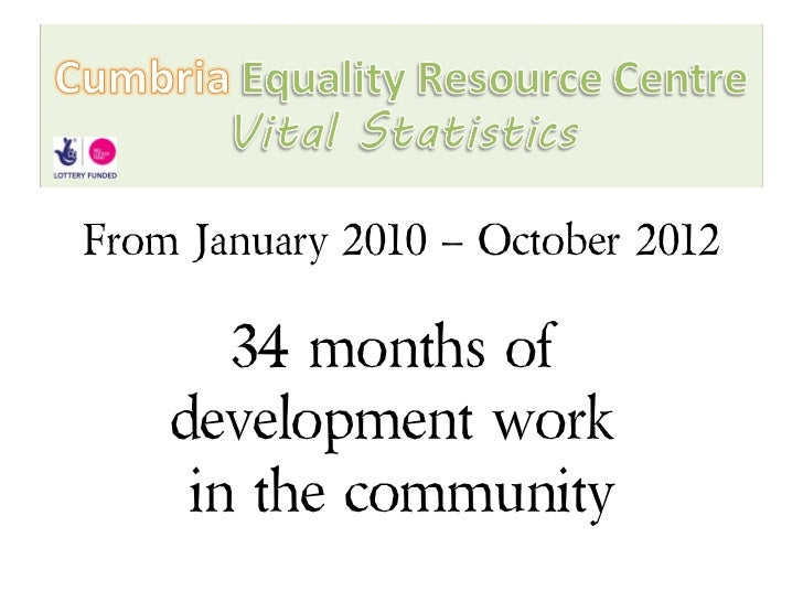 From January 2010 – October 2012       34 months of    development work     in the community
