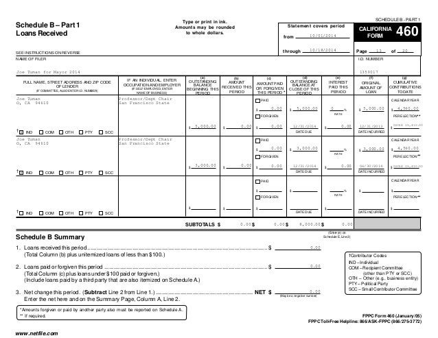 Joe Tuman FPPC Form 460 10-1-14 to 10-18-14