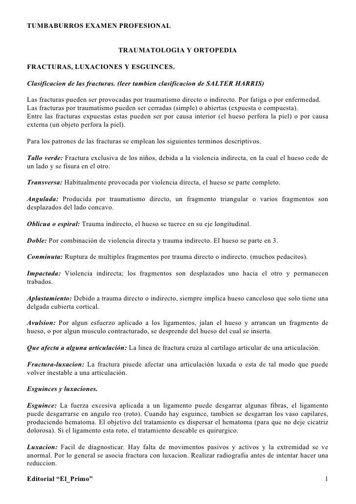 TUMBABURROS EXAMEN PROFESIONAL                                   TRAUMATOLOGIA Y ORTOPEDIA  FRACTURAS, LUXACIONES Y ESGUIN...
