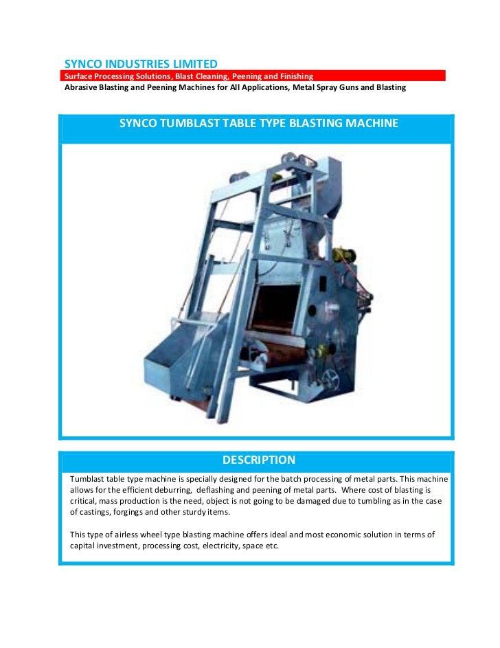 SYNCO INDUSTRIES LIMITEDSurface Processing Solutions, Blast Cleaning, Peening and FinishingAbrasive Blasting and Peening M...