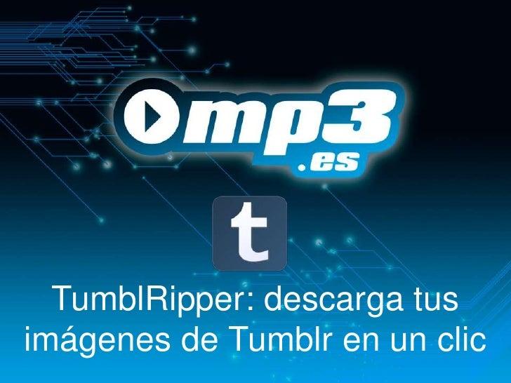TumblRipper: descarga tusimágenes de Tumblr en un clic