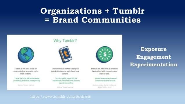 Organizations + Tumblr = Brand Communities Exposure Engagement Experimentation https://www.tumblr.com/business