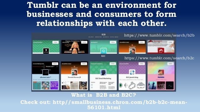 Tumblr can be an environment for businesses and consumers to form relationships with each other. What is B2B and B2C? Chec...