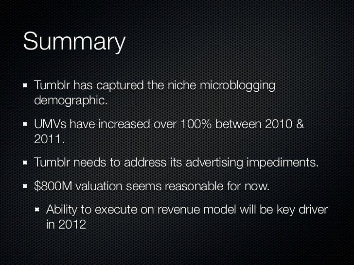 SummaryTumblr has captured the niche microbloggingdemographic.UMVs have increased over 100% between 2010 &2011.Tumblr need...