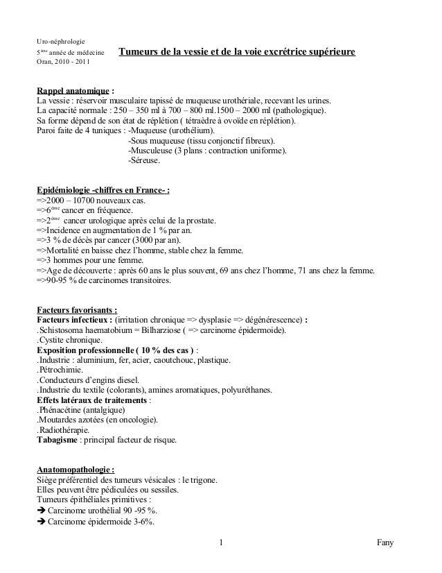 Uro-néphrologie5ème année de médecine   Tumeurs de la vessie et de la voie excrétrice supérieureOran, 2010 - 2011Rappel an...
