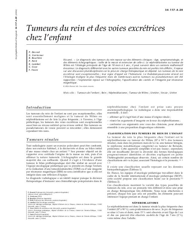 Tumeurs du rein et des voies excrétrices  chez l'enfant  P. Devred  G. Gorincour  B. Bourlière  P. Petit  K. Lambot  C. Co...
