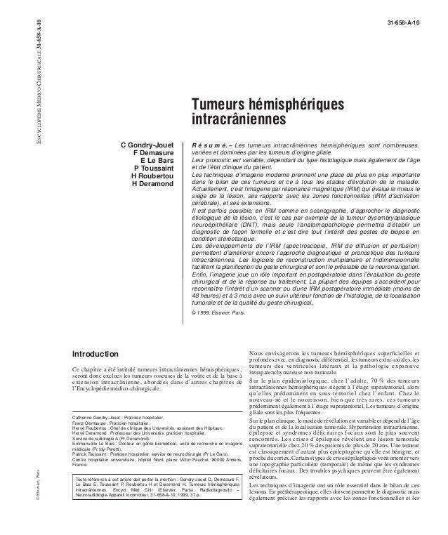 Tumeurs hémisphériques  intracrâniennes  C Gondry-Jouet  F Demasure  E Le Bars  P Toussaint  H Roubertou  H Deramond  31-6...