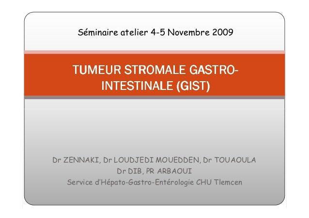 Séminaire atelier 4-5 Novembre 2009                      GASTRO-     TUMEUR STROMALE GASTRO-        INTESTINALE (GIST)Dr Z...