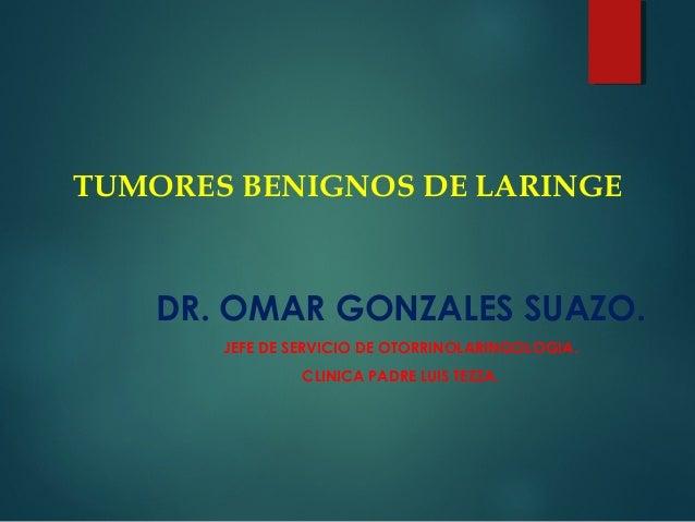 TUMORES BENIGNOS DE LARINGE DR. OMAR GONZALES SUAZO. JEFE DE SERVICIO DE OTORRINOLARINGOLOGIA. CLINICA PADRE LUIS TEZZA.