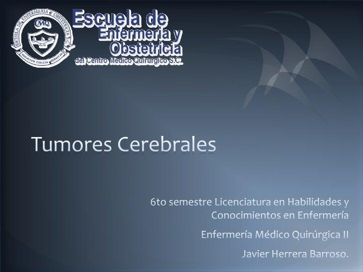 Tumores Cerebrales<br />6to semestre Licenciatura en Habilidades y Conocimientos en Enfermería<br />Enfermería Médico Quir...