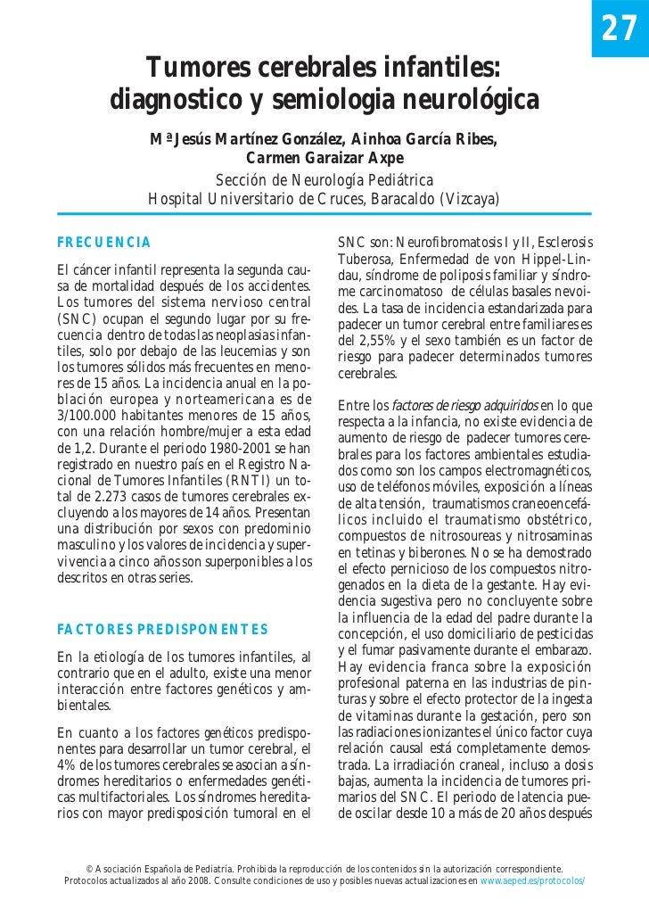 27               Tumores cerebrales infantiles:            diagnostico y semiologia neurológica                     Mª Jes...