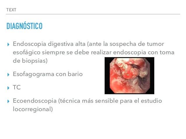 TEXT DIAGNÓSTICO ▸ Endoscopia digestiva alta (ante la sospecha de tumor esofágico siempre se debe realizar endoscopia con ...