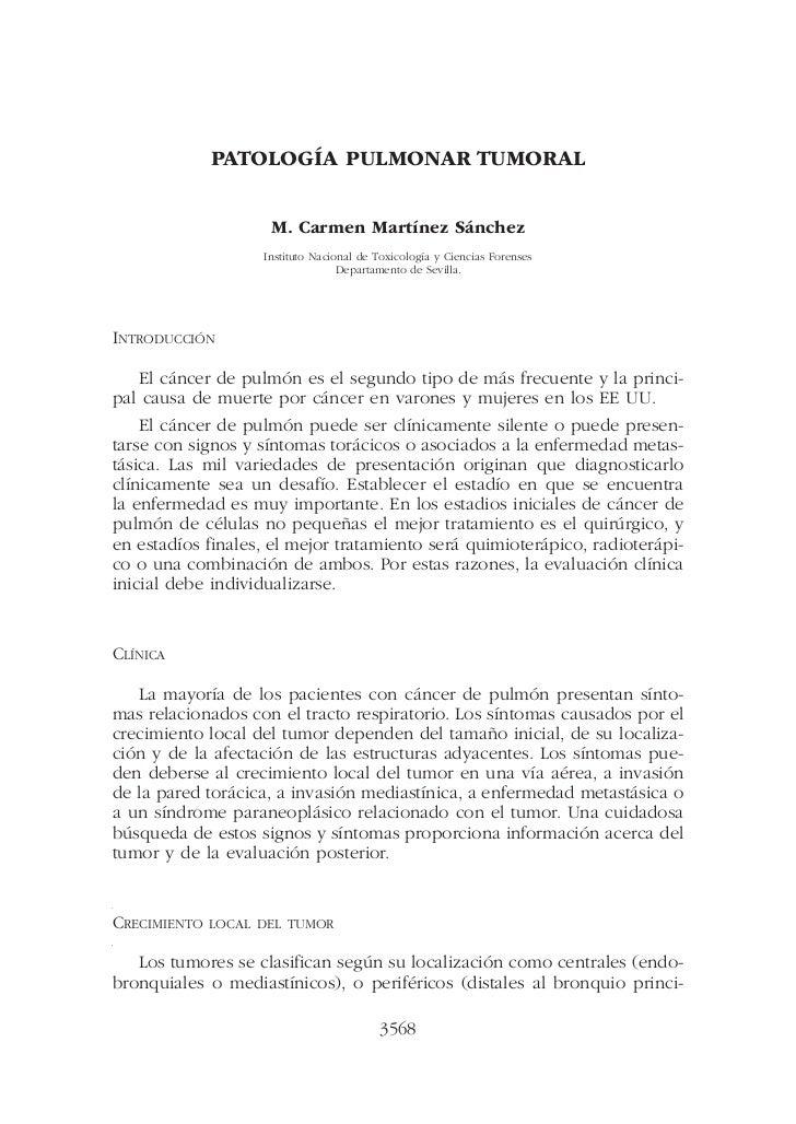 PATOLOGÍA PULMONAR TUMORAL                     M. Carmen Martínez Sánchez                    Instituto Nacional de Toxicol...