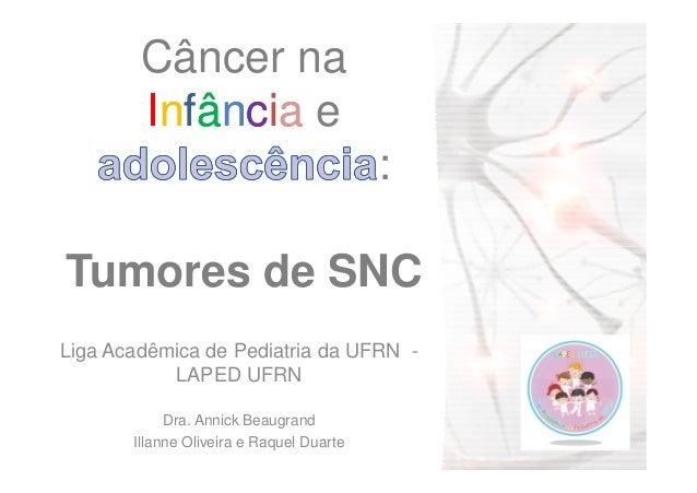 Câncer na IInnffâânncciiaa e : Tumores de SNCTumores de SNC Liga Acadêmica de Pediatria da UFRN - LAPED UFRN Dra. Annick B...