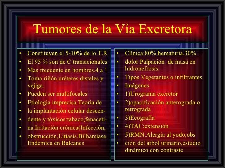 Tumores de la Vía Excretora <ul><li>Constituyen el 5-10% de lo T.R </li></ul><ul><li>El 95 % son de C.transicionales </li>...