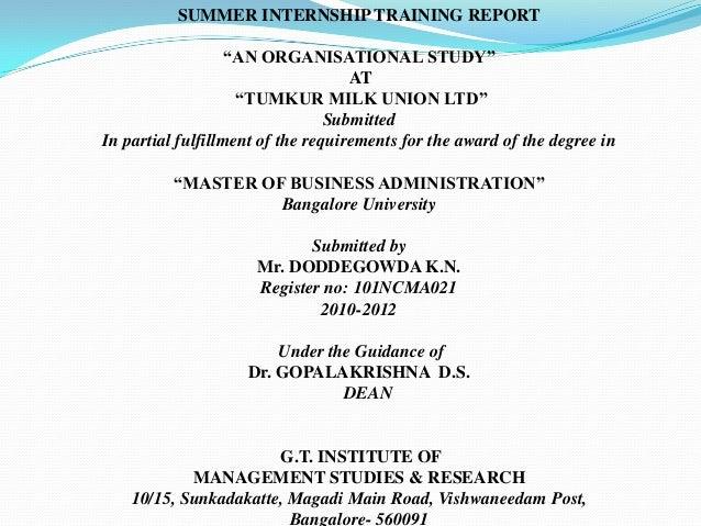 "SUMMER INTERNSHIP TRAINING REPORT                   ""AN ORGANISATIONAL STUDY""                                    AT       ..."