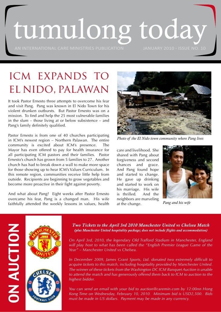 tumulong today      AN INTERNATIONAL CARE MINISTRIES PUBLICATION                                  JANUARY 2010 - ISSUE NO....