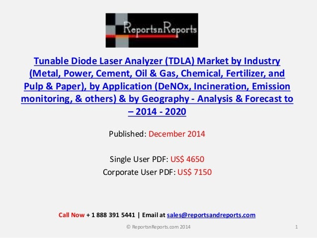 Tunable Diode Laser Analyzer (TDLA) Market by Industry (Metal, Power, Cement, Oil & Gas, Chemical, Fertilizer, and Pulp & ...