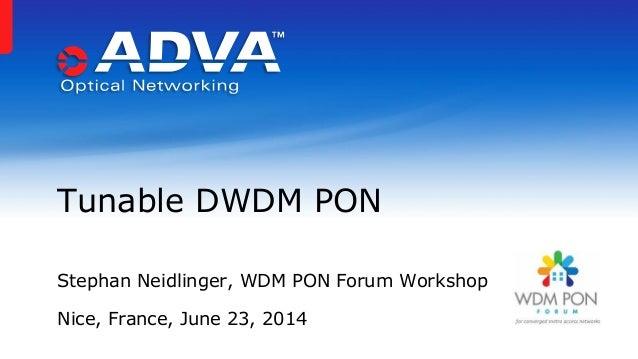 Stephan Neidlinger, WDM PON Forum Workshop Nice, France, June 23, 2014 Tunable DWDM PON